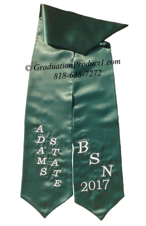 BSN Adams State Hunter Green Graduation Stole