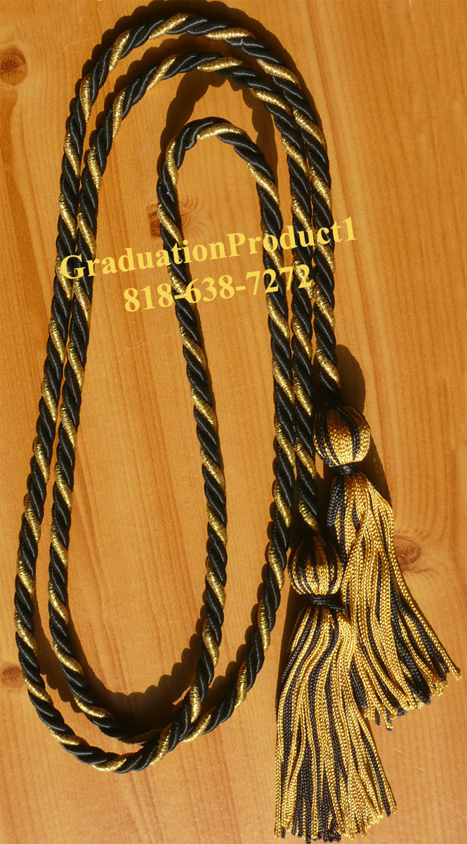Black And Metallic Old Gold Honor Cords