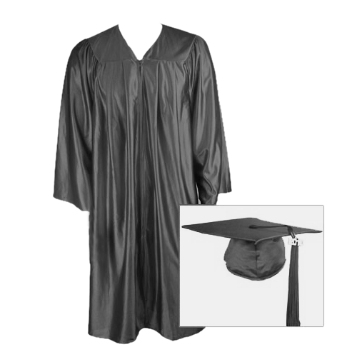 Black Graduation Cap, Gown and Tassel