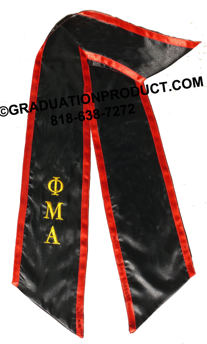 Black Stole With Red Trim And Greek Letter Graduation Stole