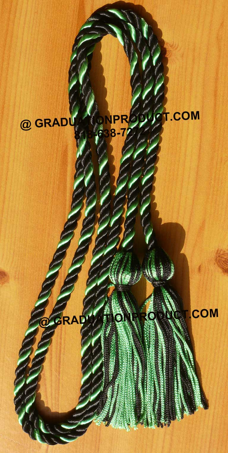 Black And Kelly Green Honor Cords