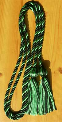 Black & Kelly Green Intertwined Graduation Honor Cord