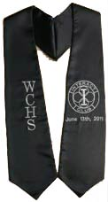 Black Two Side Embroidery With Logo Graduation Stole