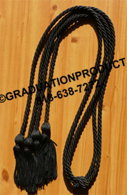 Black Double Tied Graduation Cords