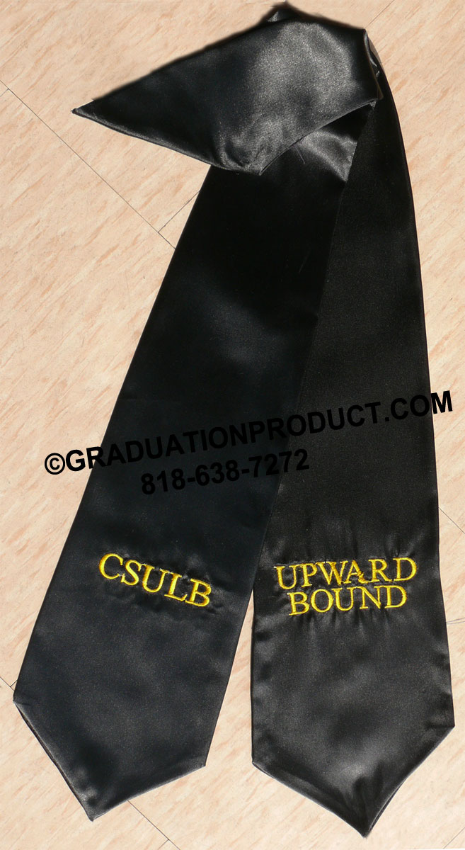 Black Twoside01 Embroidered Graduation Stole