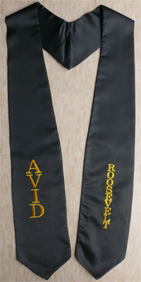 Black Embroidered Graduation Stole