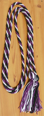 Black, White and Purple Intertwined Graduation Honor Cord