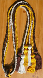 Brown Light Blue and Gold Triple Graduation Honor Cords