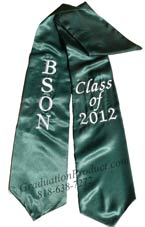 Dark Green Two Side Embroidered Graduation Stole