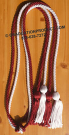 Burgundy and White  Double Tied Honor Cords