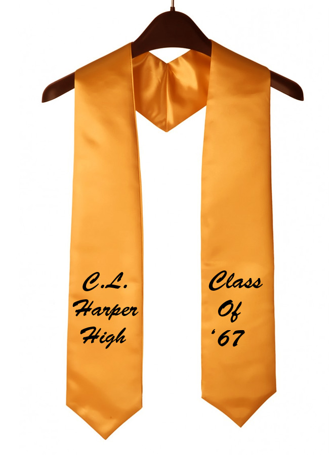 Gold Custom Embroidered Graduation Stole