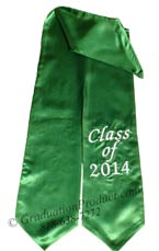 Kelly Green One Side Embroidered Graduation Stole