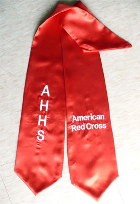 Red Custom Two Side Embroidered Graduation Stole AHHS American Red Cross