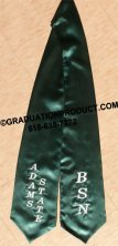 Dark Green  Embroidered Graduation Stole