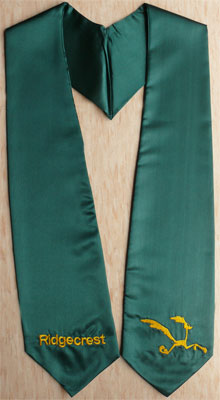 Dark Green Two Side Embroidery With Logo Graduation Stole
