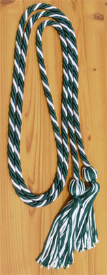 Dark Green & White Intertwined Graduation Honor Cord