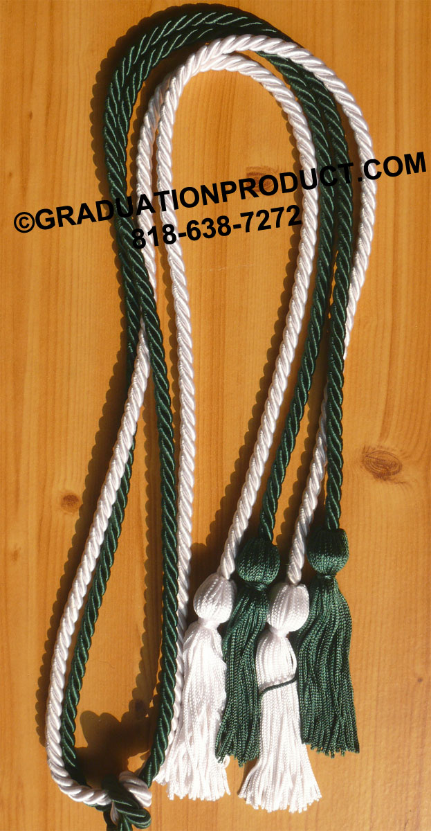 Forest Green And White Double Honor Cord