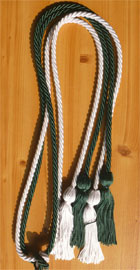 Forest Green and White Double Tied Honor Cords