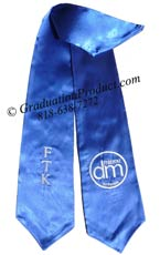 Royal Blue Two Side Embroidered Graduation Stole w/ 2 side Logo