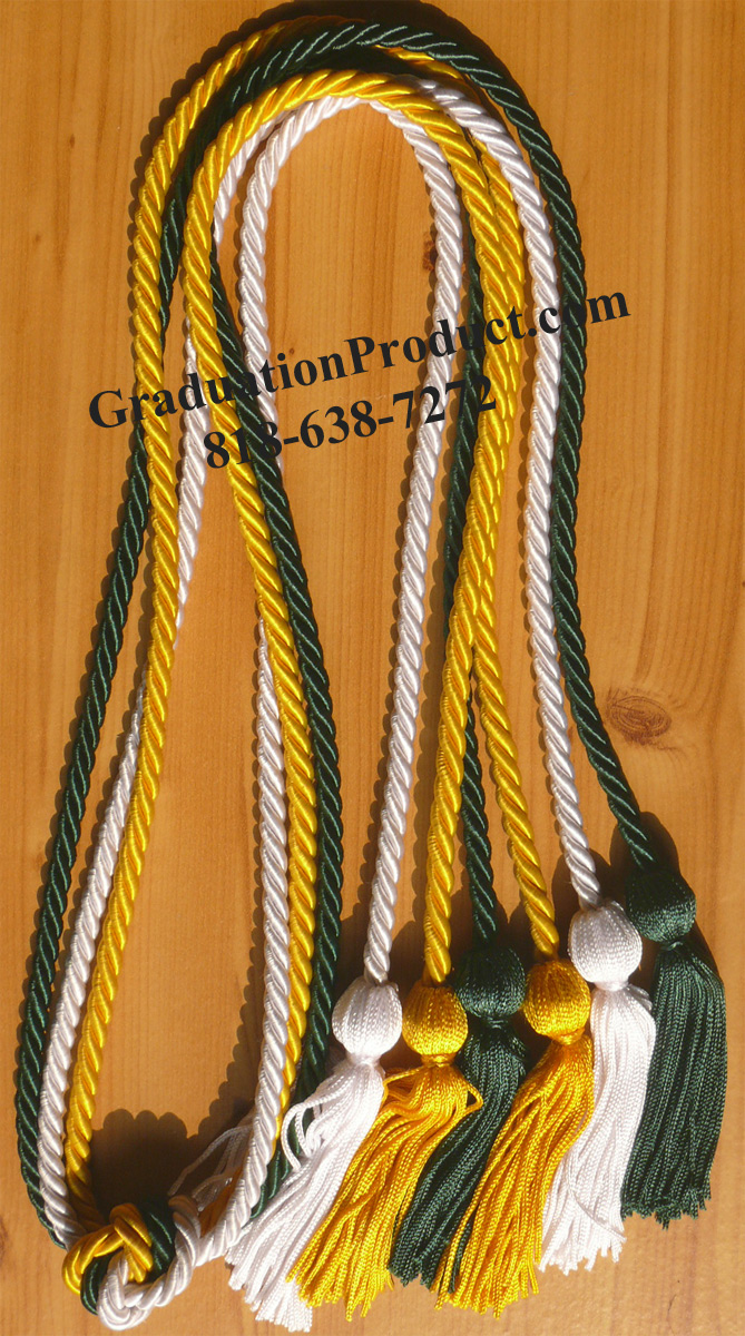 Gold Forest Green And White Triple Graduation Honor Cords