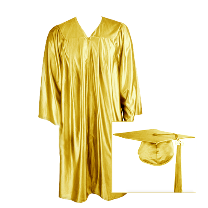 Gold Graduation Cap, Gown and Tassel