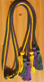 Gold Green and Purple Triple Graduation Honor Cords