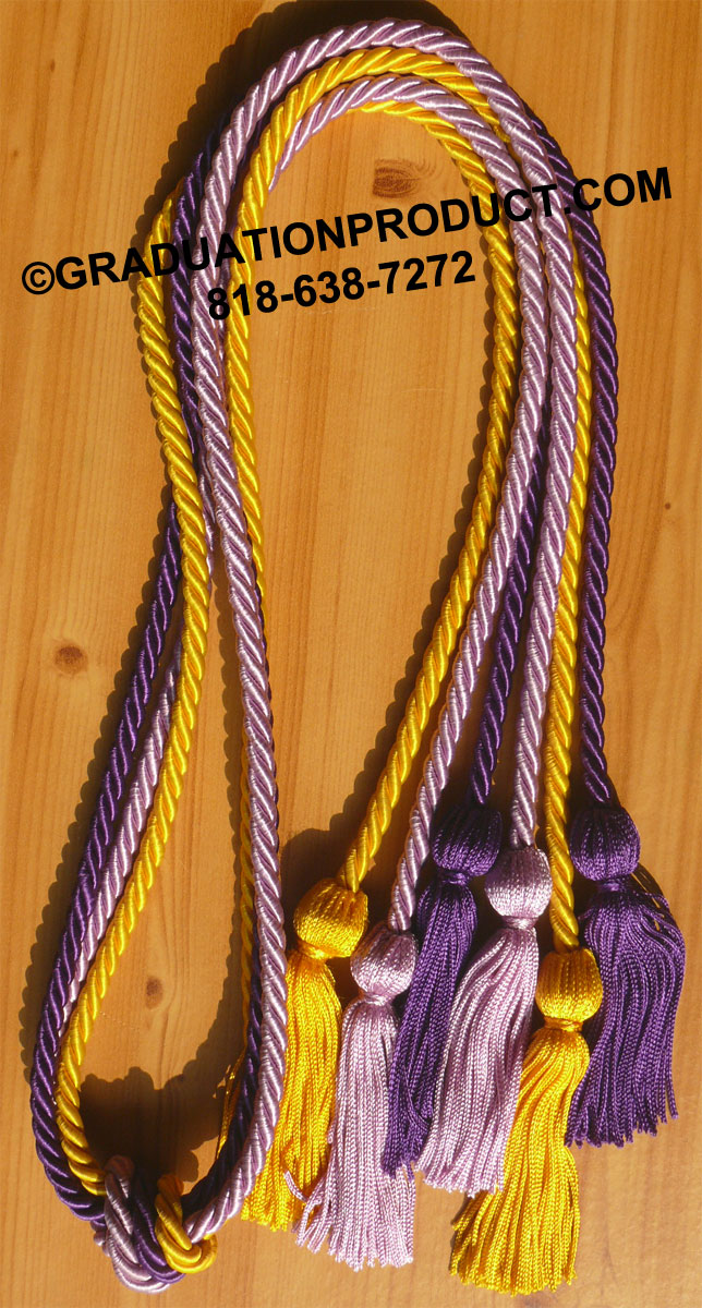 Gold Purple And Lilac Triple Graduation Honor Cords