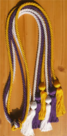 Gold White and Purple Triple Graduation Honor Cords