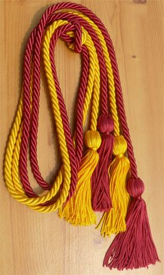 Hot Pink and Gold Double Tied Honor Cords