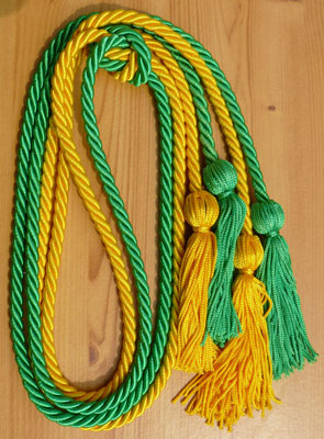 Gold and Kelly Green Double Tied Honor Cords