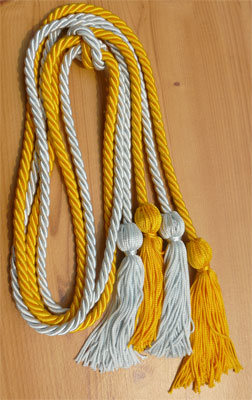 Gold and Light Blue Double Tied Honor Cords