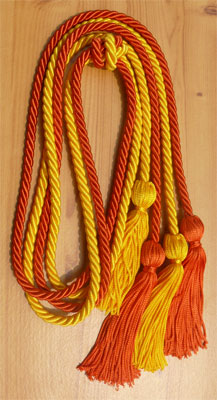 Gold and Orange Double Tied Honor Cords