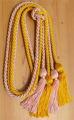 Gold and Pink Double Tied Honor Cords