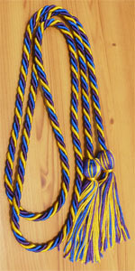 Gold, Purple and Royal Blue Intertwined Graduation Honor Cord