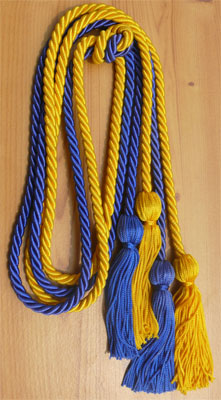 Gold and Royal Blue Double Tied Honor Cords