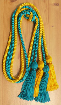 Gold and Teal Double Tied Honor Cords