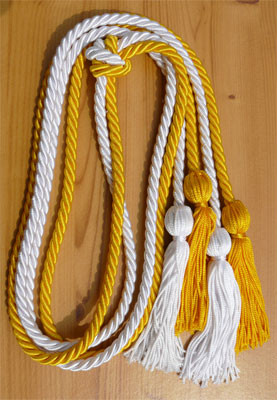 Gold and White Double Tied Honor Cords