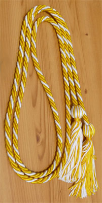 Gold & White Intertwined Graduation Honor Cord