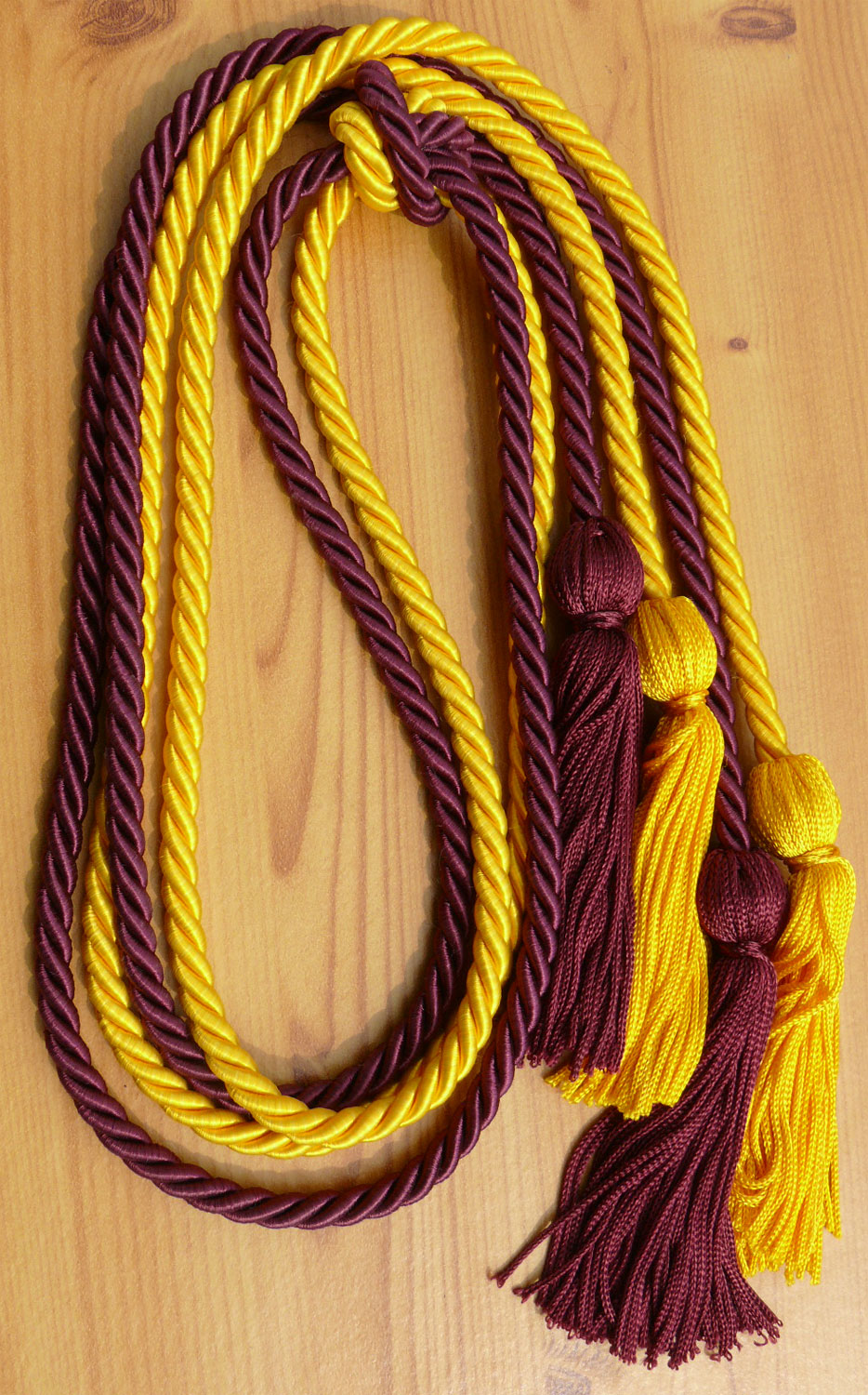 Gold and Wine Double Tied Honor Cords
