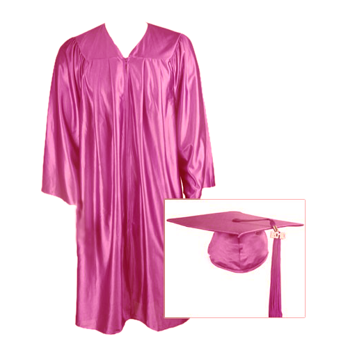 Hot Pink Graduation Cap, Gown and Tassel