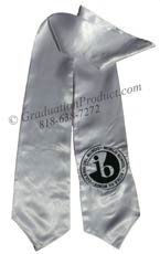 Silver  Two Side Embroidered Graduation Stole w/ 2 side Logo