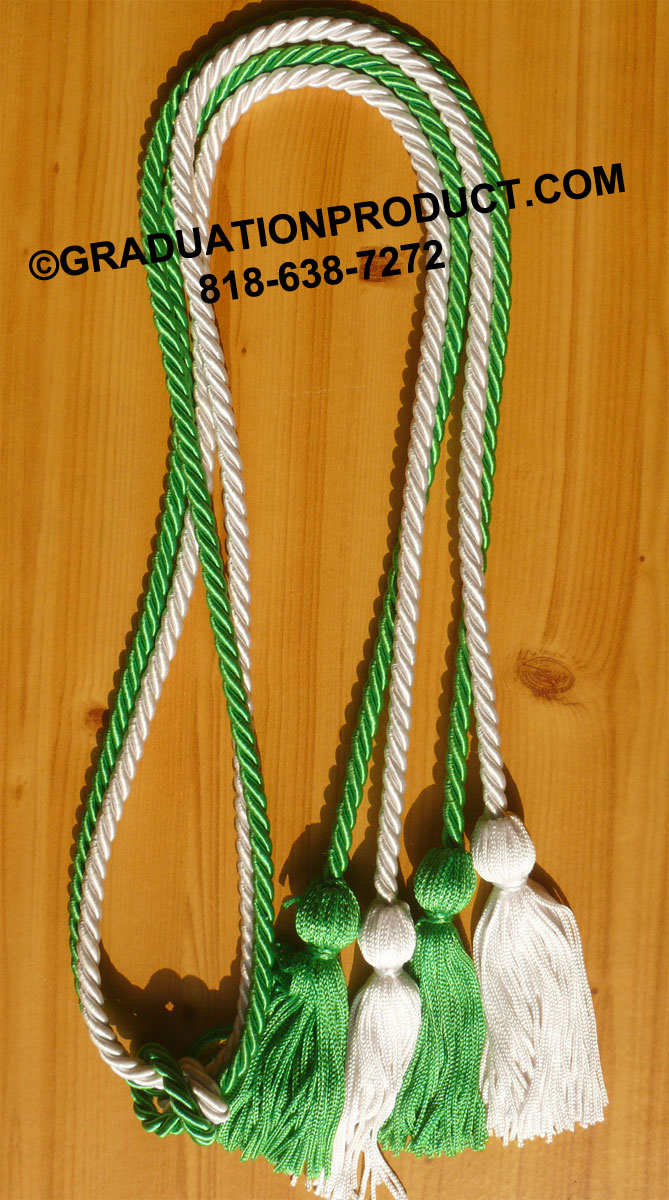 Kelly Green And White Double Honor Cord