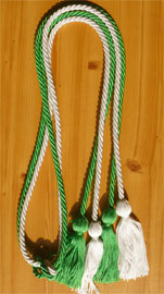 Kelly Green and White Double Tied Honor Cords