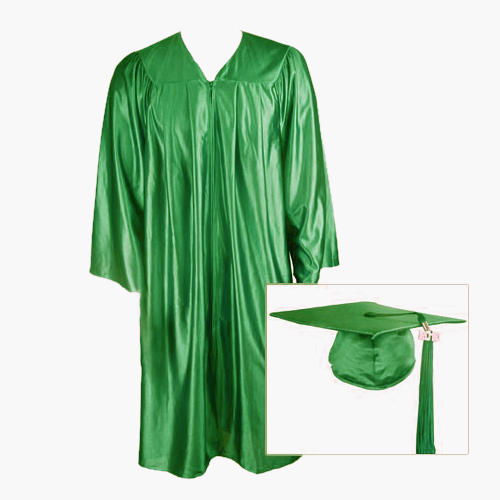 Kelly Green Graduation Cap, Gown and Tassel