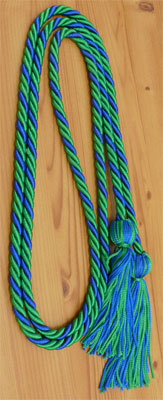 Kelly Green & Royal Blue Intertwined Graduation Honor Cord