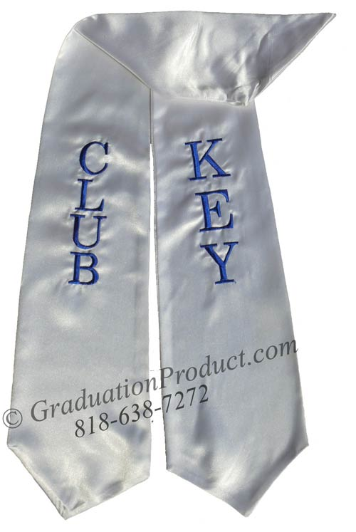Key Club White Graduation Stole
