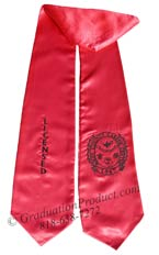 Hot Pink Two Side Embroidered Graduation Stole w/ 2 side Logo