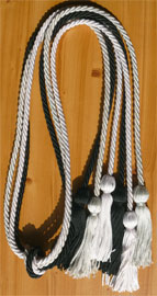 Light Blue White and Black Triple Graduation Honor Cords