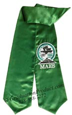 Kelly Green Embroidered Graduation Stole with Logo