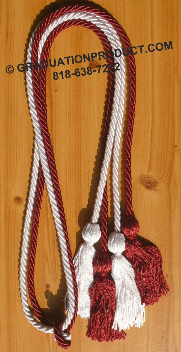 Maroon And White Double Honor Cord